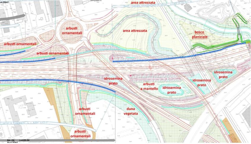 Estratto di progetto esecutivo dello svincolo di Paderno Dugnano con indicazione delle sistemazioni a verde previste