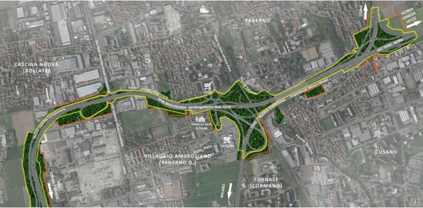 Perimetro del sedime autostradale di intervento da progetto esecutivo (in giallo) e delle ulteriori aree di cantiere (in arancione)