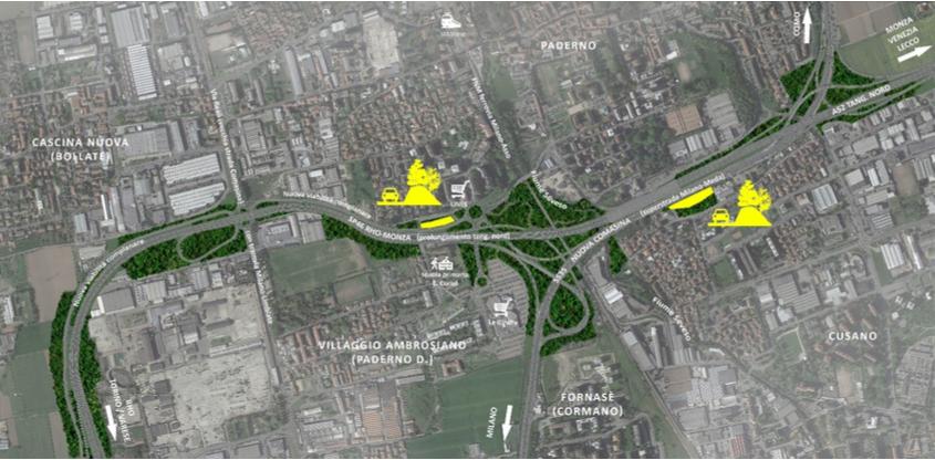 Indicazione delle dune vegetate proposte a mitigazione del tracciato autostradale in corrispondenza delle maggiori criticità di impatto sul tessuto residenziale