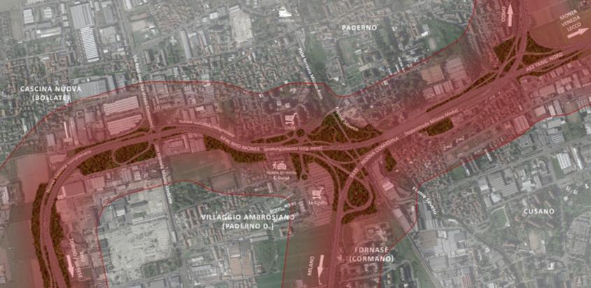 Fascia a maggiore concentrazione di polveri sottili (250 m da tracciato autostradale – linea rossa)