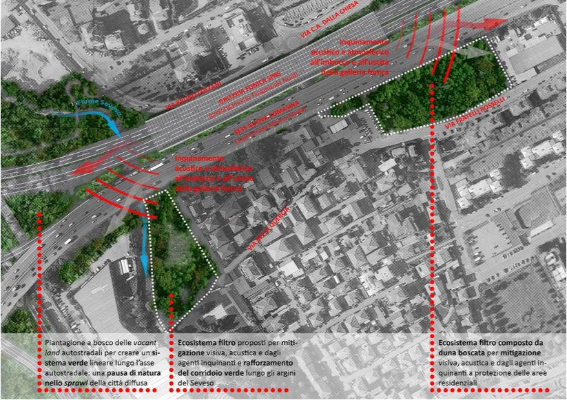 Aree a nord di Via Rosselli e fra Seveso e Via della Quercia: comparazione fra progetto Milano-Serravalle e proposta migliorativa
