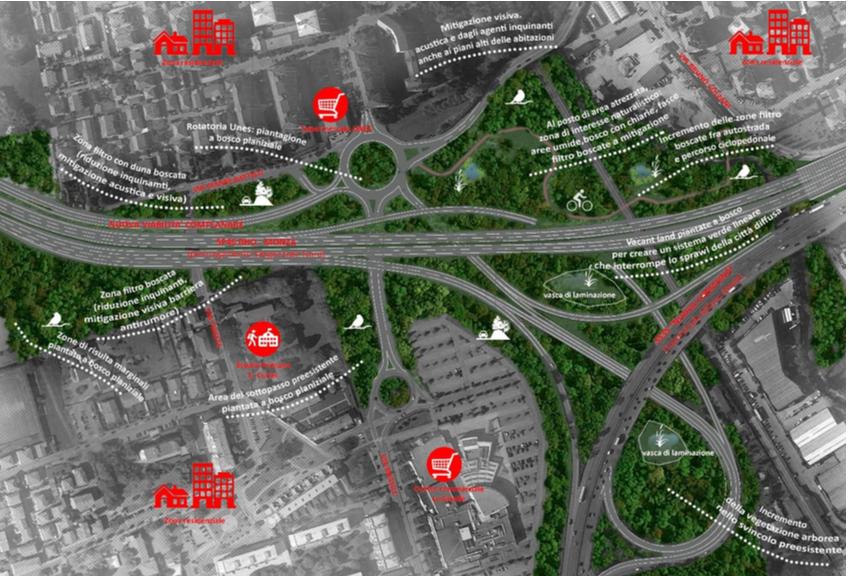 Area dello svincolo di Paderno Dugnano: comparazione fra progetto Milano-Serravalle e proposta migliorativa